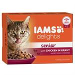 IAMS DELIGHTS with CHICKEN in GRAVY FOR SENIOR CATS 12*85G thumbnail