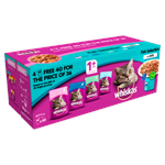 WHISKAS 1+ Cat Pouches Fish Selection in Jelly 40 for 36  x 100g Mega Pack thumbnail